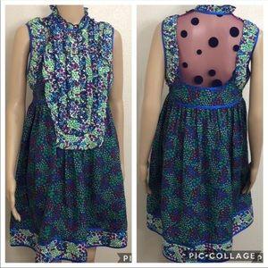 🌻 Anna Sui 100% Silk Floral Print Dress Size 4